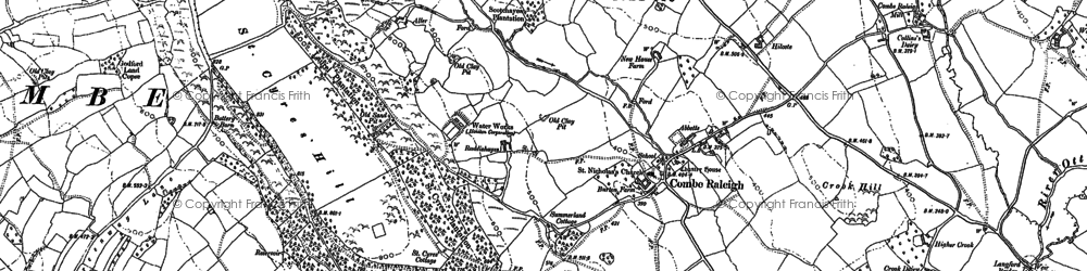 Old map of Combe Raleigh in 1887