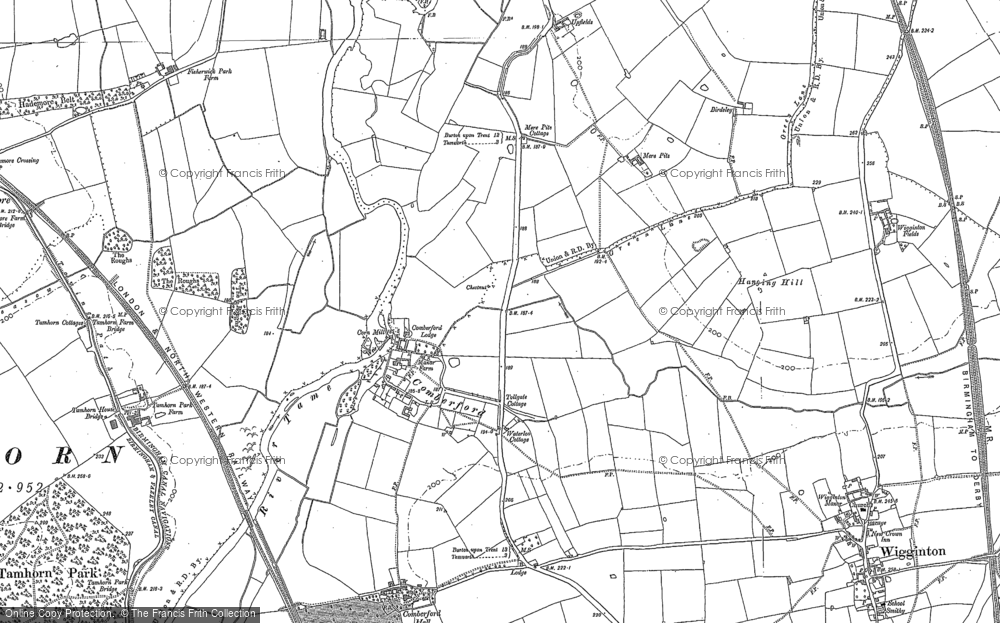 Old Map of Historic Map covering Leyfields in 1900