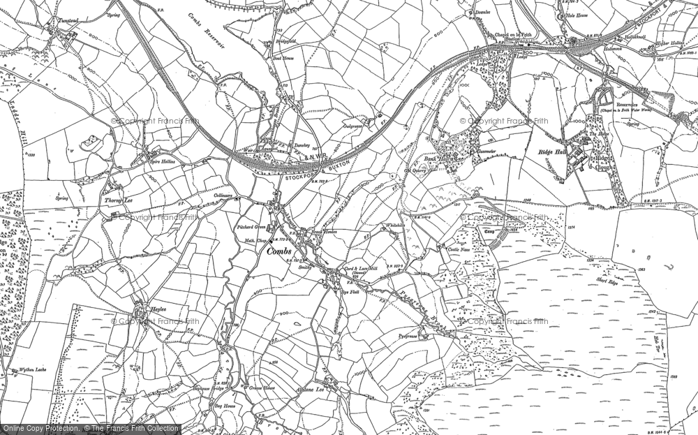 Old Map of Historic Map covering Allstone Lee in 1879