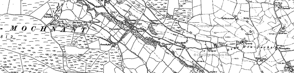 Old map of Afon Disgynfa in 1910