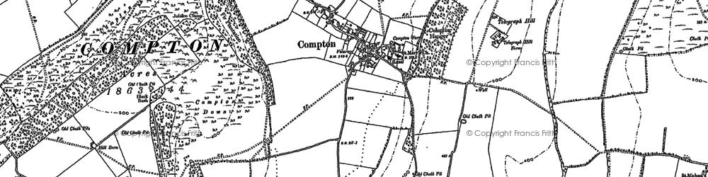 Old map of Compton in 1910