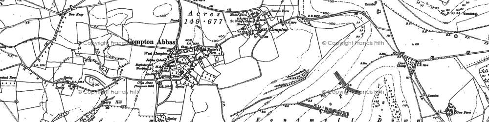 Old map of Compton Abbas in 1900