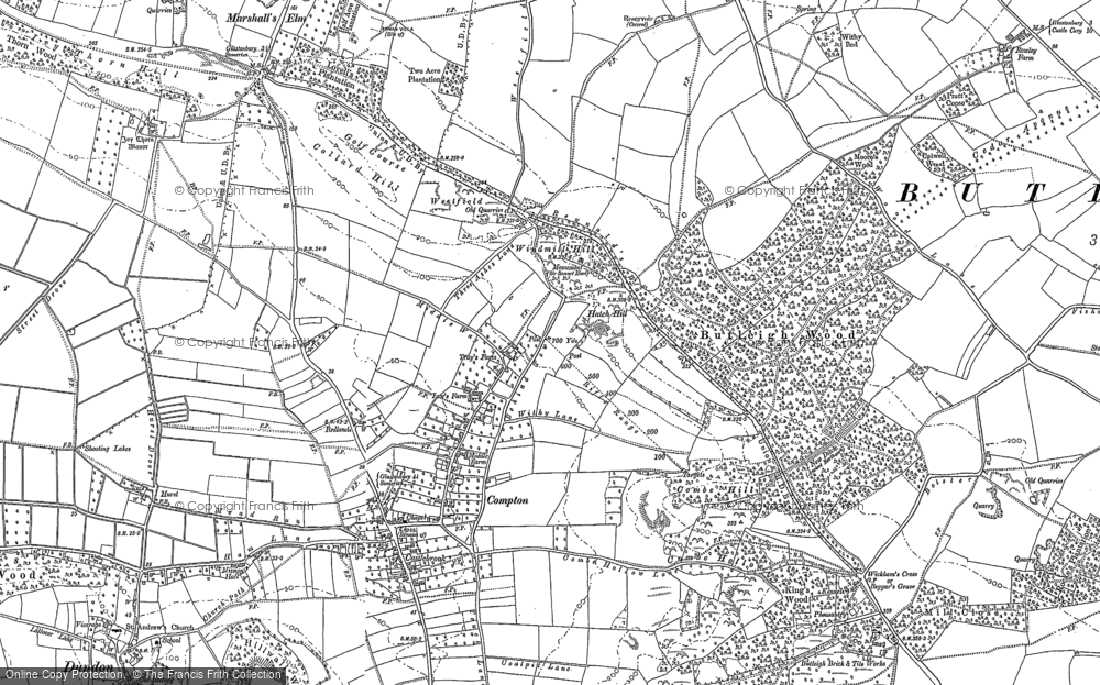 Old Map of Historic Map covering Wickham's Cross in 1885