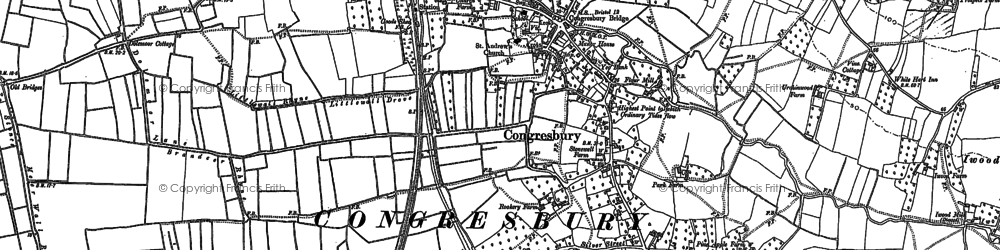 Old map of Congresbury in 1883