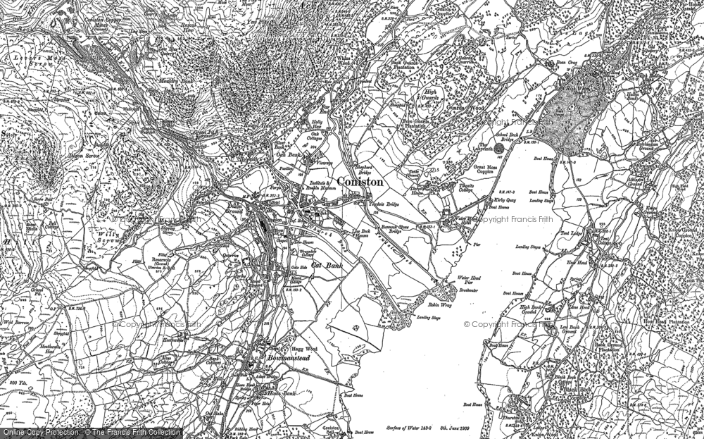 Old Map of Coniston, 1912 in 1912