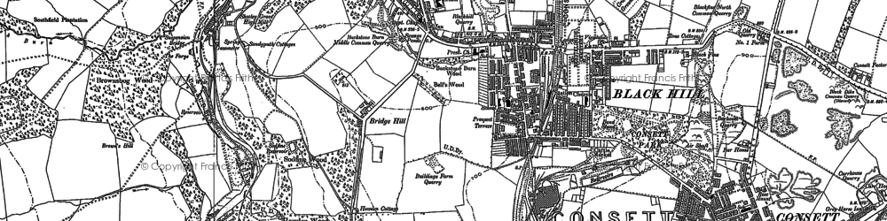 Old map of Consett in 1916