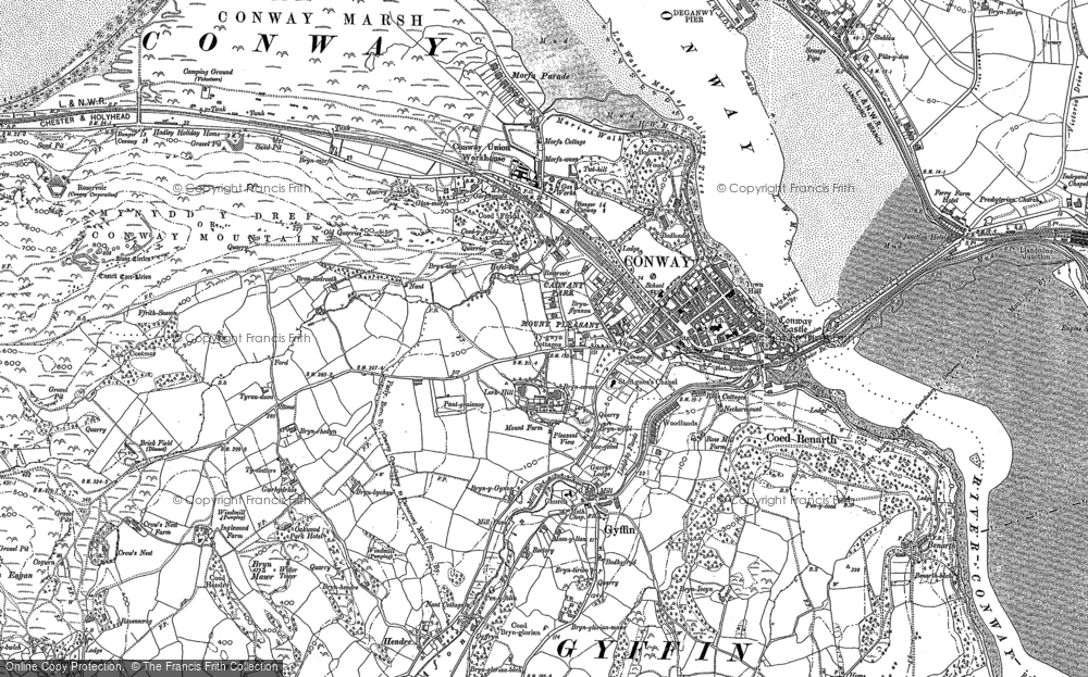 Old Map of Conwy, 1899 in 1899