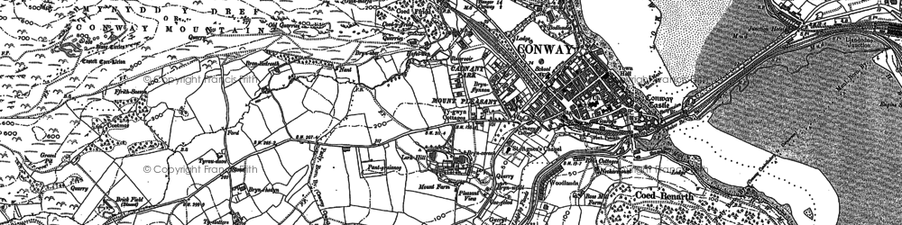 Old map of Conwy in 1899