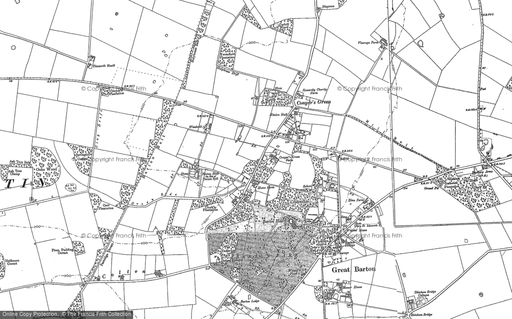 Old Map of Historic Map covering Timworth Heath in 1883