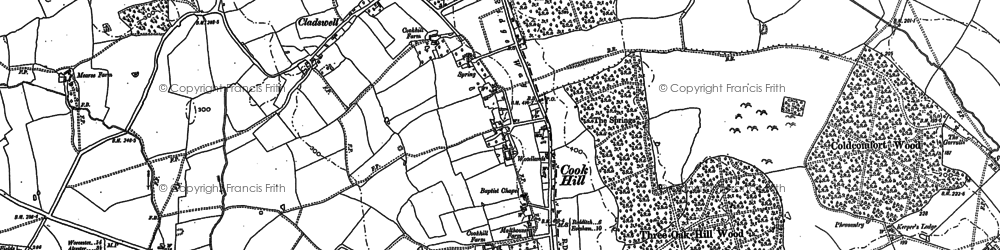 Old map of Asplands Husk Coppice in 1885