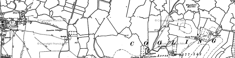 Old map of Whalebone Marshes in 1895