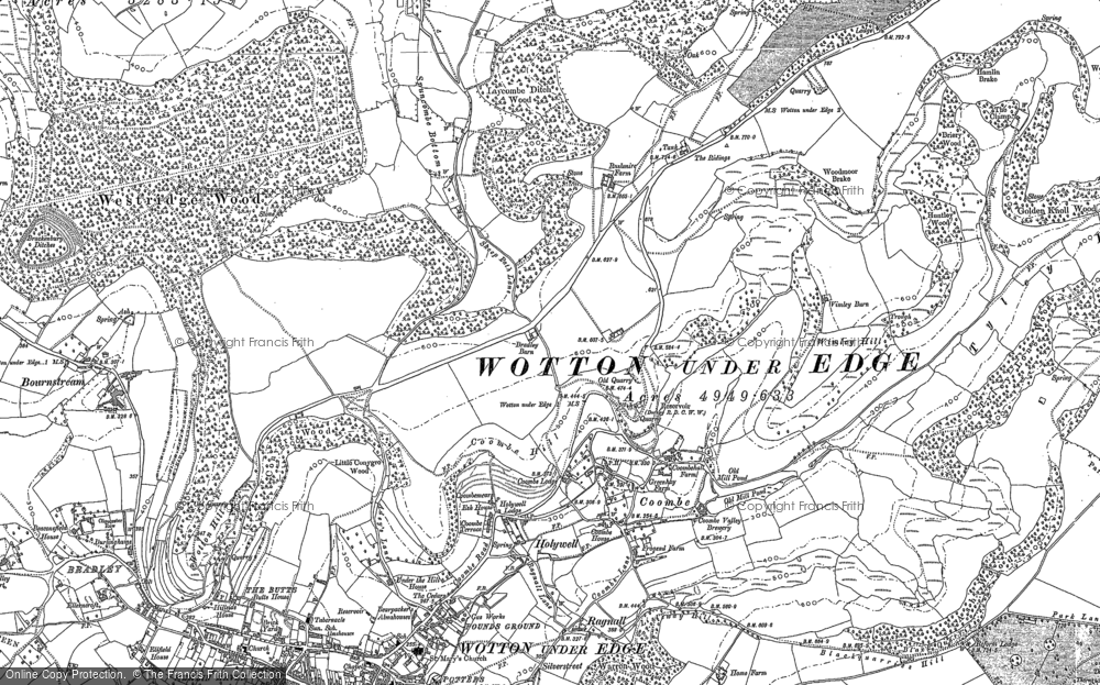 Old Map of Historic Map covering Westridge Wood in 1881