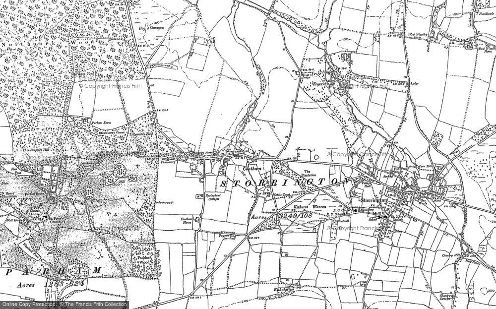 Old Map of Historic Map covering Arun Valley, The in 1896