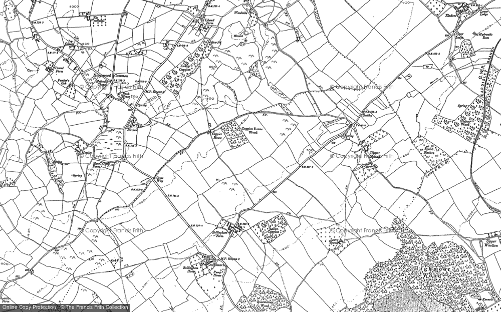 Old Map of Historic Map covering Woodbrook in 1885