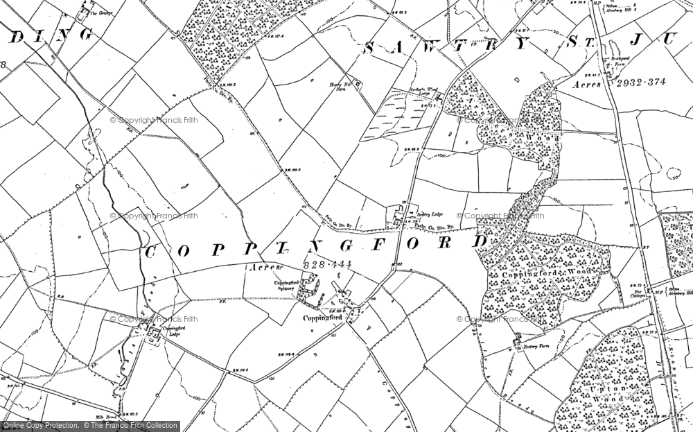 Old Map of Historic Map covering Aversley Wood in 1887