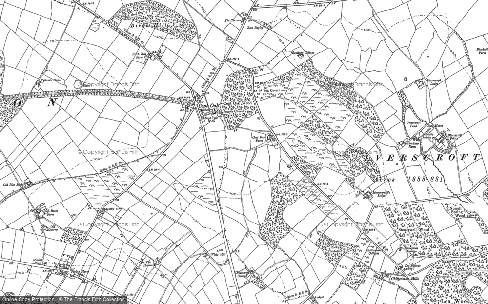 Old Map of Historic Map covering Lea Wood in 1883