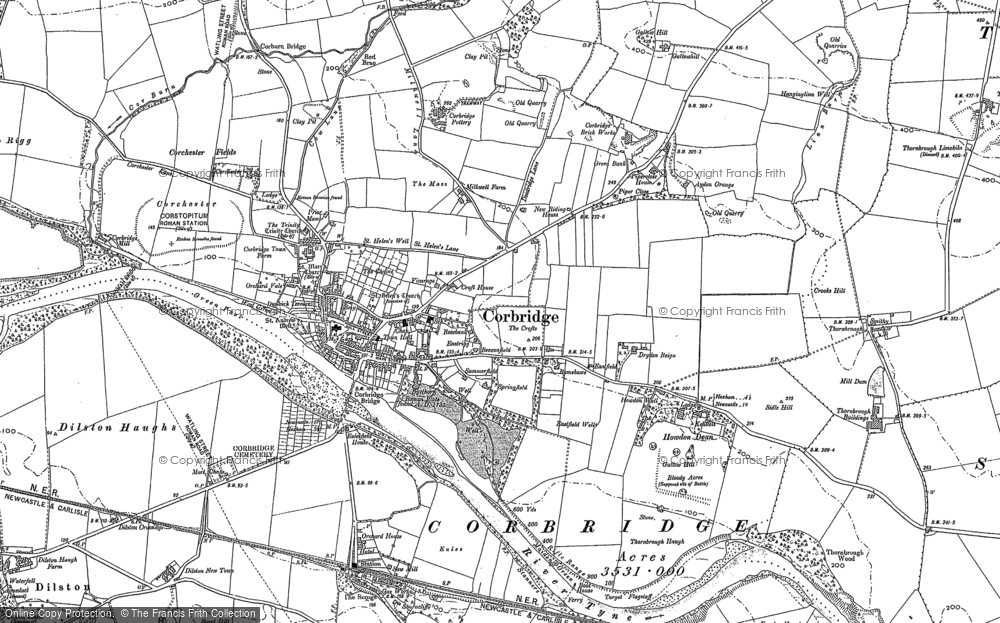 Old Map of Historic Map covering Aydon in 1895