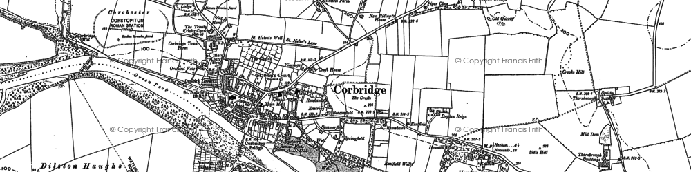 Old map of Corbridge in 1895