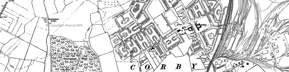 Old map of Corby in 1884