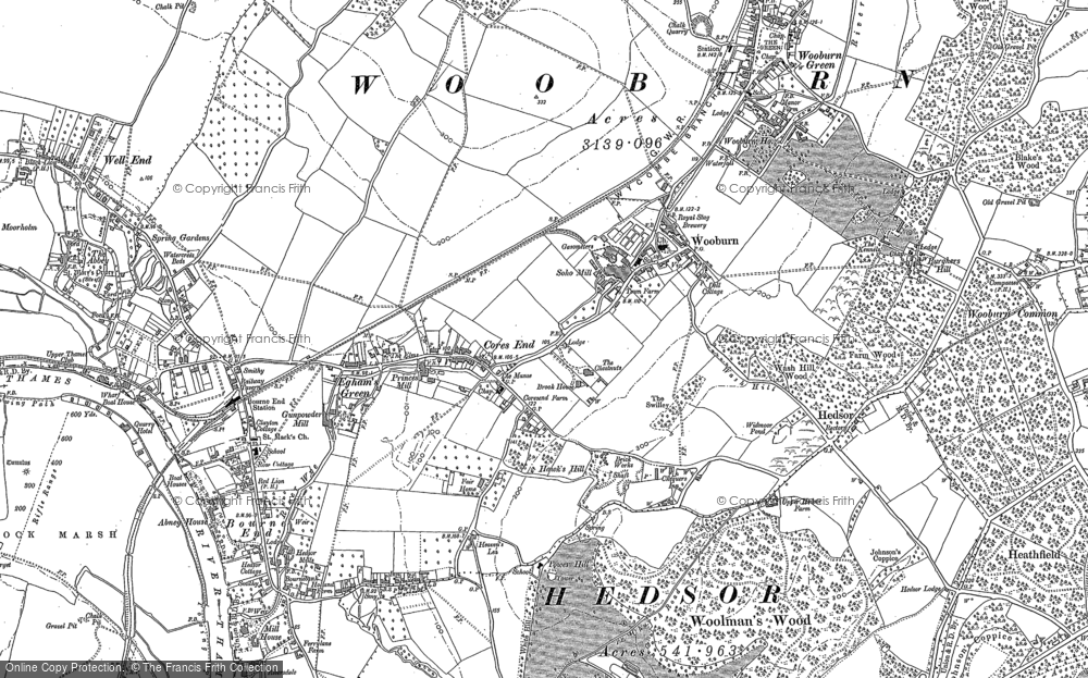 Old Map of Historic Map covering Wooburn in 1897
