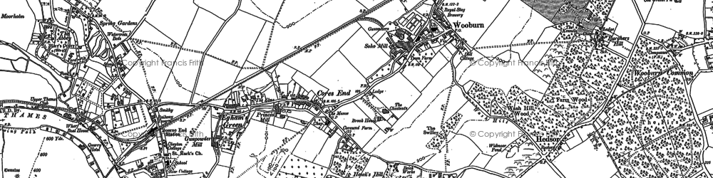 Old map of Cores End in 1897
