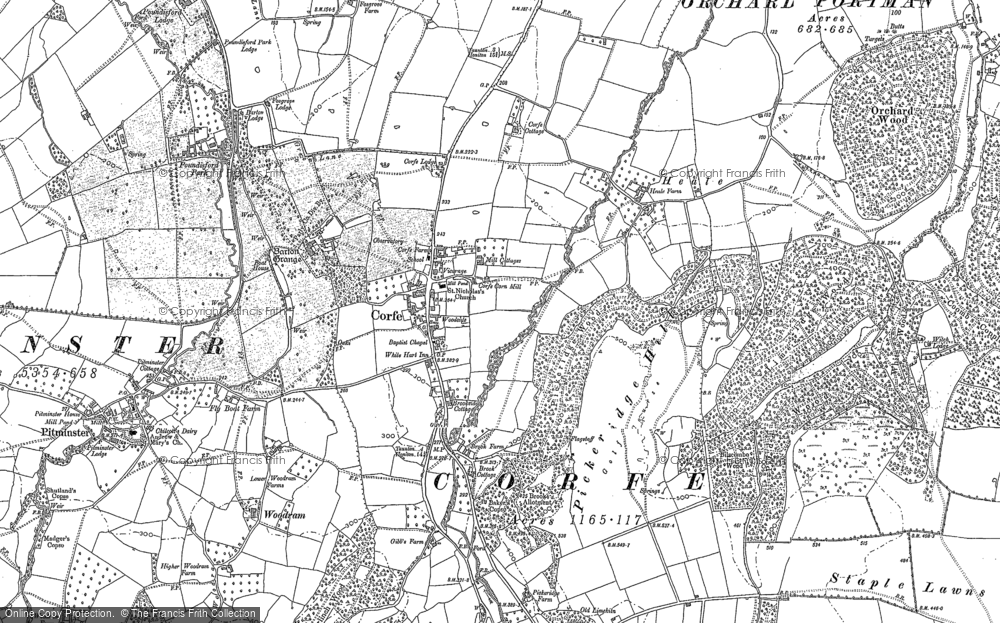 Old Map of Corfe, 1886 - 1903 in 1886