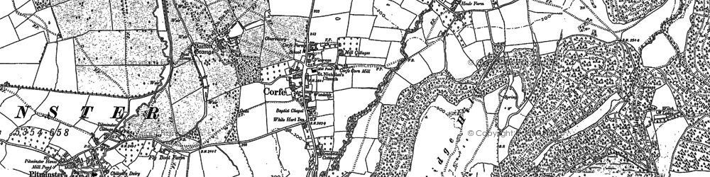 Old map of Corfe in 1886