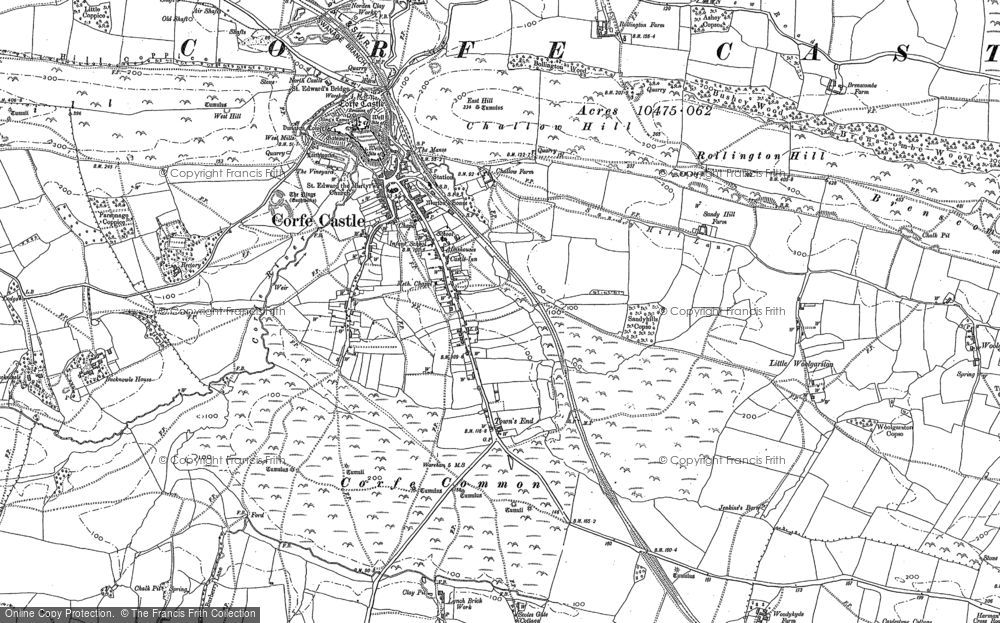 Old Map of Corfe Castle, 1900 in 1900