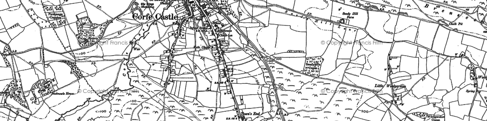 Old map of Corfe Castle in 1900