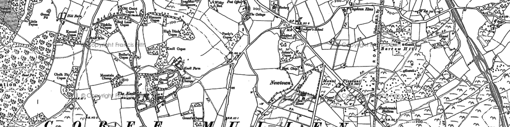 Old map of Corfe Mullen in 1887
