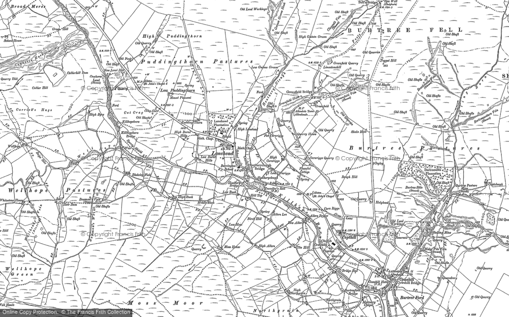 Old Map of Cornriggs, 1896 in 1896