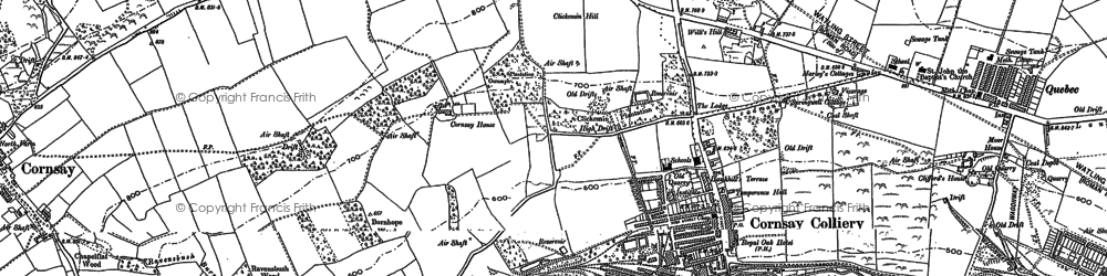 Old map of Cornsay Colliery in 1895