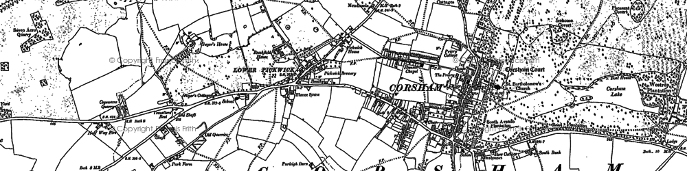 Old map of Corsham in 1919