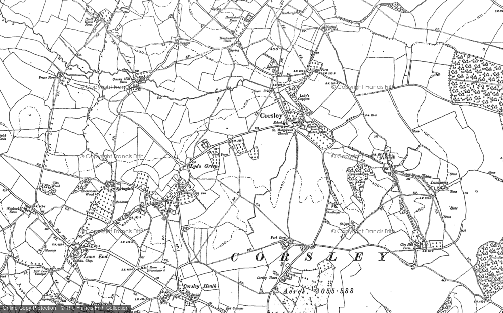 Old Map of Historic Map covering Whitbourne Springs in 1922
