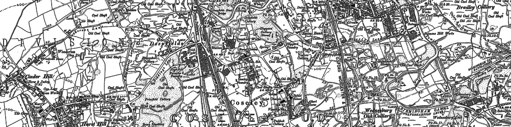 Old map of Coseley in 1885