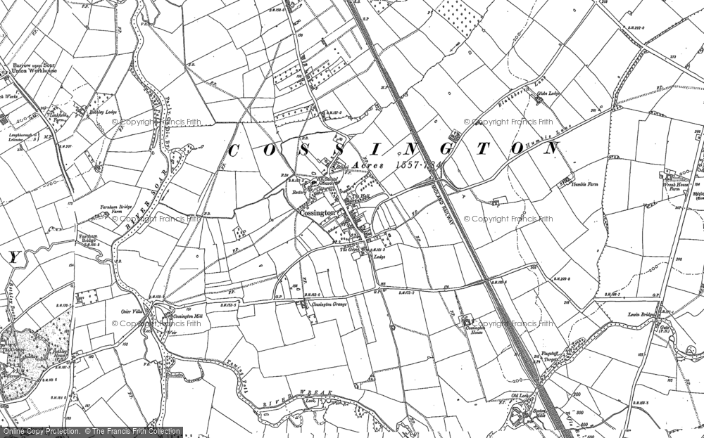 Old Map of Historic Map covering Leicestshire Round, The in 1883
