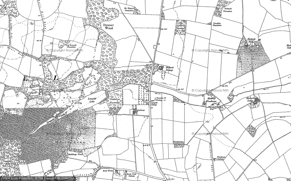 Old Map of Historic Map covering Langold Country Park in 1897