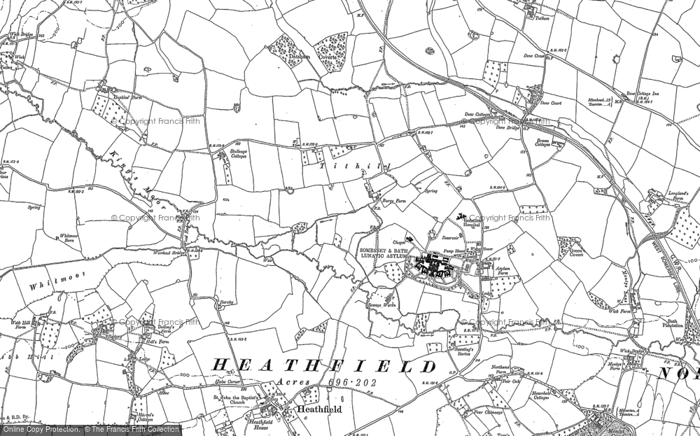 Old Map of Historic Map covering Tone Vale in 1887