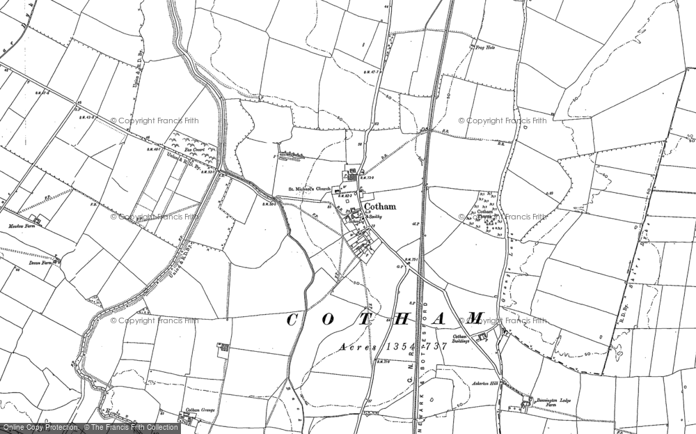 Old Map of Historic Map covering Askerton Hill in 1887