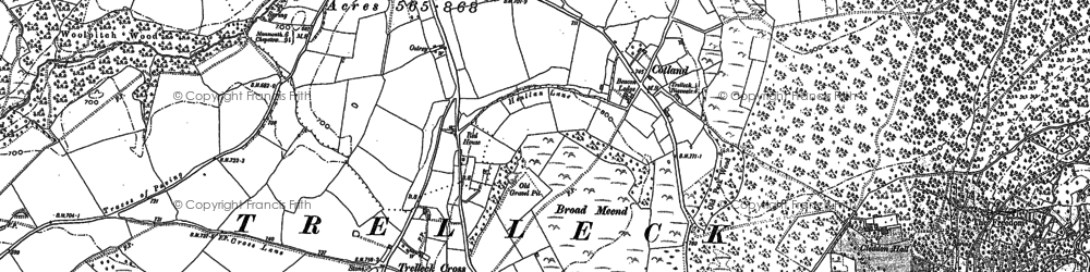 Old map of Trelleck Cross in 1900
