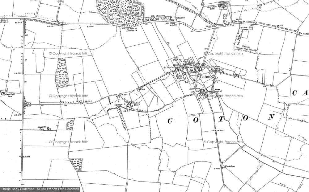 Old Map of Coton, 1886 - 1901 in 1886