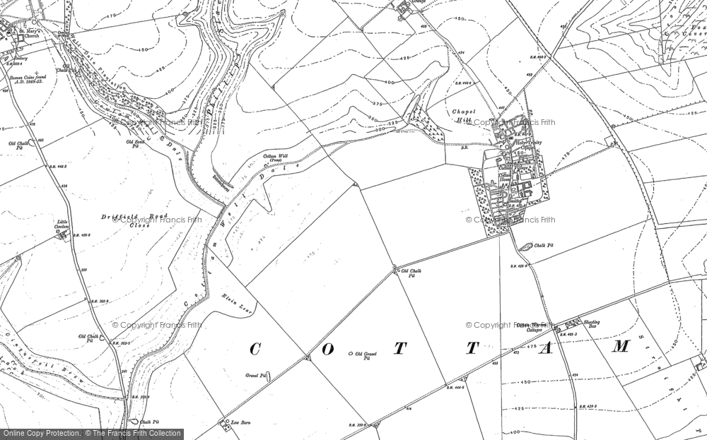 Old Map of Historic Map covering Langtoft Grange in 1888
