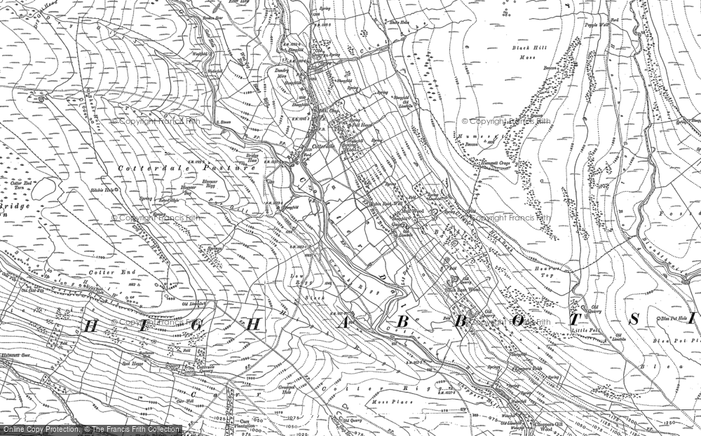 Old Map of Historic Map covering Abbotside Common in 1907