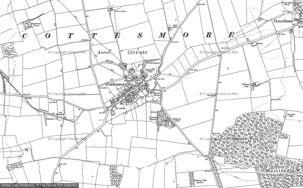 Old Map of Cottesmore, 1884 in 1884