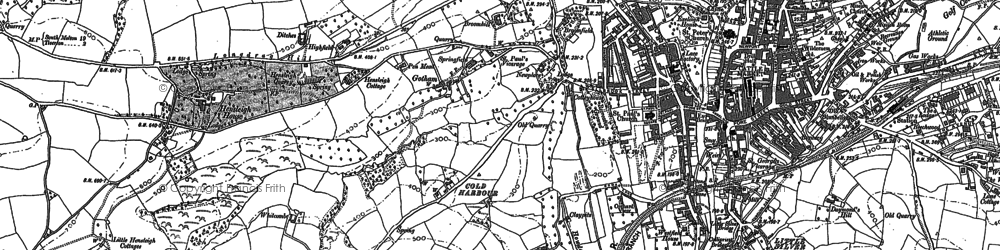 Old map of Whitcombe in 1886