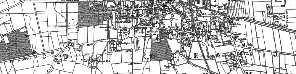 Old map of Cottingham in 1853