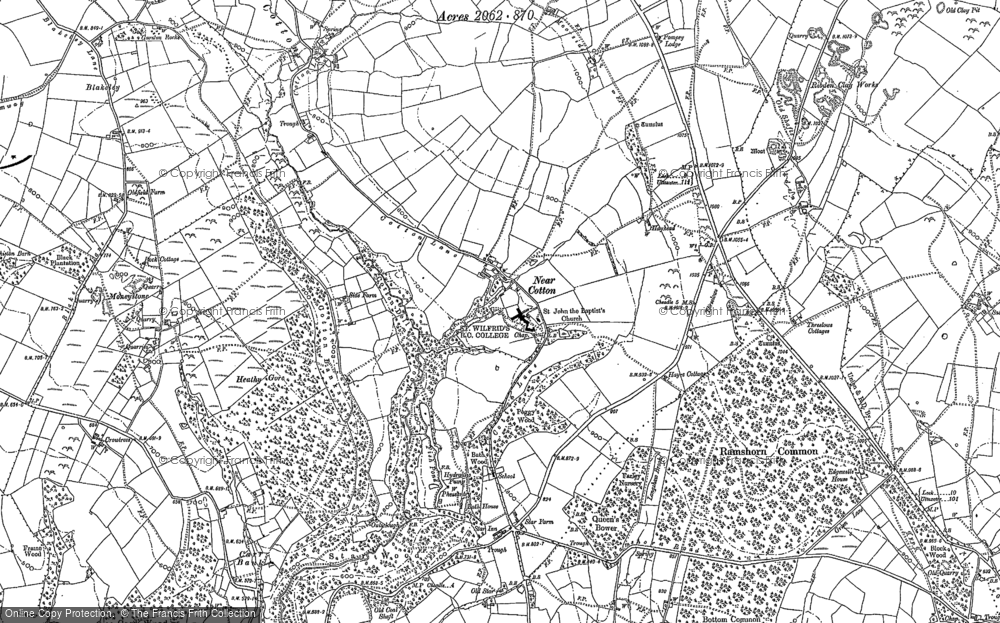 Old Map of Historic Map covering Lanehead in 1880
