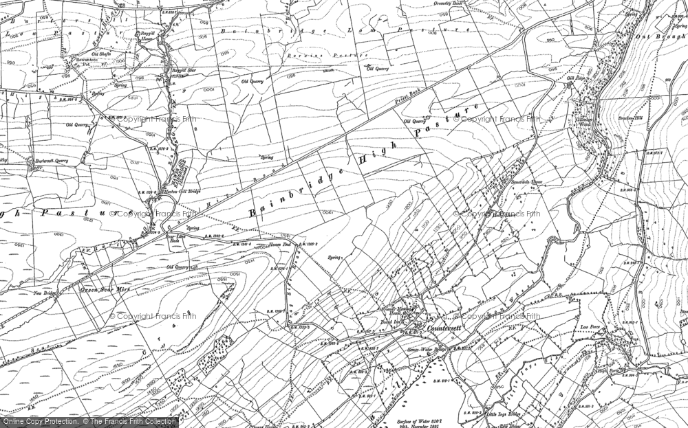Old Map of Historic Map covering Bainbridge High Pasture in 1892