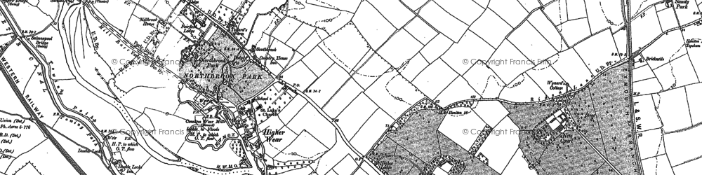 Old map of Countess Wear in 1887