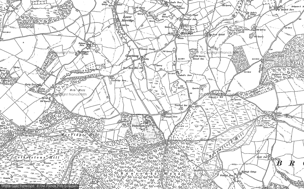 Old Map of Historic Map covering Timbercombe in 1887